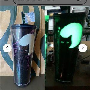Starbucks GLOW IN THE DARK Halloween cat tumbler limited ed.